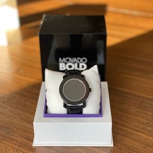 Movado Bold black watch with rainbow crystals